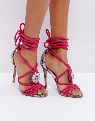 Forever Unique Multi Strap Embellished Heeled Sandal with Snake Contrast