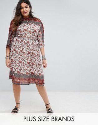 レディースファッション BOOHOO PLUS PAISLEY PRINT MIDI DRESS ドレス ワンピース