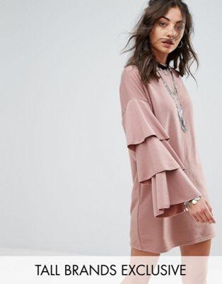 絶賛 GLAMOROUS TALL SWEAT スウェット DRESS ドレス ワンピース WITH DOUBLE RUFFLE SLEEVE スリーブ DETAIL