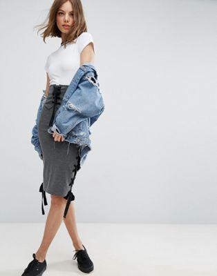 ハイ スカート エイソス asos high waist midi skirt with corset detail