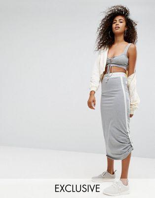 エレッセ スカート ジャージ ellesse jersey midi skirt with side pull ties