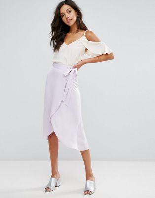 スカート ラップ miss selfridge wrap midi skirt