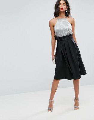 asos エイソス scuba prom skirt スカート with paperbag waist