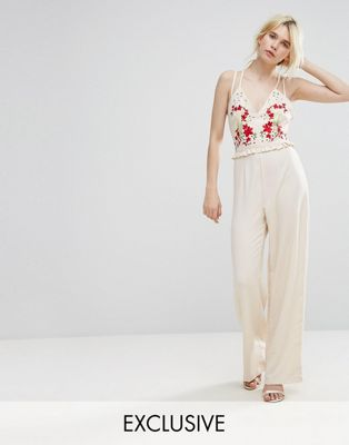 hope ivy embroidered jumpsuit with strappy back & サロペット オールインワン レディースファッション
