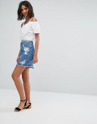 miss selfridge embroidered denim デニム skirt スカート