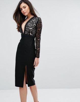 ワンピース ドレス vesper plunge lace pencil dress with split