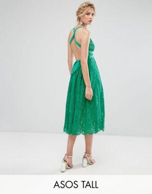 エイソス ドレス ワンピース asos tall salon lace pinny backless full midi prom dress