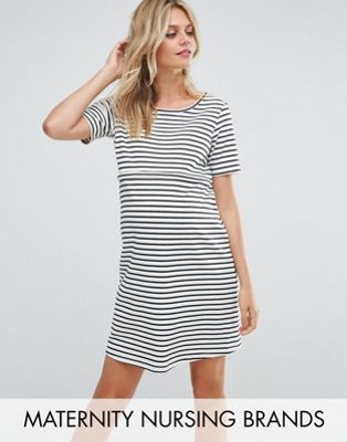 マタニティ ワンピース ドレス gebe maternity nursing striped shift dress with star emboridery