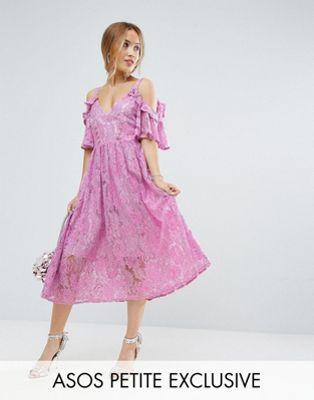 レース テープ ワンピース エイソス ミディ ピンク 小さいサイズ ドレス asos petite pink lace midi dress with eyelet tape レディースファッション