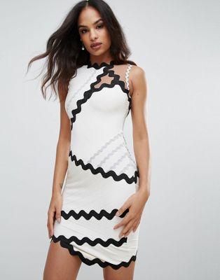 ドレス ワンピース forever unique bandage dress with contrasting scalloping