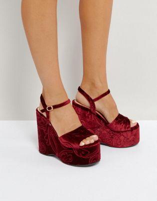 サンダル lost ink burgandy flock wedge heeled sandals レディース靴 靴