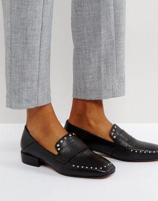 エイソス レザー プレミアム asos magestic premium leather studded loafer 靴 レディース靴