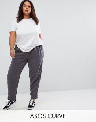 大きいサイズ ウォッシュ パンツ エイソス asos curve washed tapered peg trousers レディースファッション