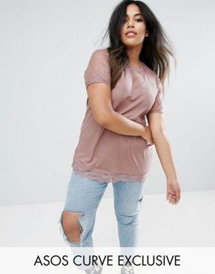 レース リブ 大きいサイズ & インサート エイソス tシャツ ネック asos curve rib with plunge neck lace insert レディースファッション