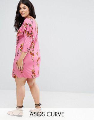 asos curve mini dress with frill and low back in floral print ミニ tシャツ エイソス ロー バック フローラル プリント ワンピース ドレス フリル 大きいサイズ イン レディースファッション