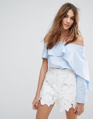 ミス フリル バルドー セルフリッジ トップ miss selfridge frill bardot top トップス レディースファッション