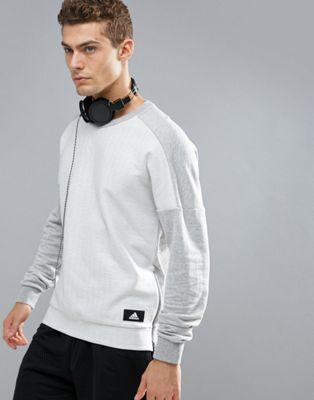 gray灰色 アスレチック ジップ アディダス グレイ サイズ クルーネック トレーナー イン adidas athletics crewneck sweatshirt with size zip in grey bq0708 メンズファッション
