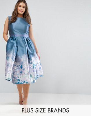 プラス プリント アット ワンピース ミディ イン ボーダー ヘム ロンドン ドレス chi london plus 2 in 1 midi dress with border print at hem レディースファッション