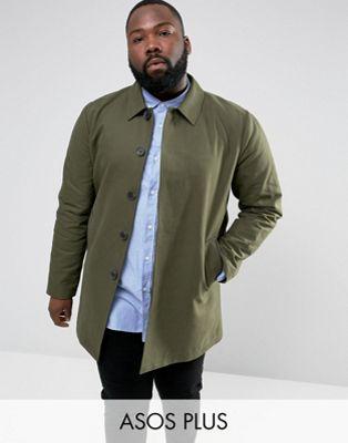 asos plus shower resistant single breasted trench coat in khaki シングル カーキ シャワー プラス レジスタント イン ブレスト エイソス コート トレンチ メンズファッション