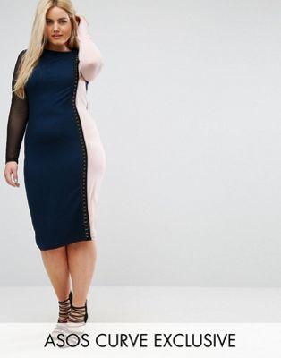 大きいサイズ エイソス ワンピース ドレス メッシュ ミディ スリーブ asos curve colourblock midi dress with mesh sleeve レディースファッション