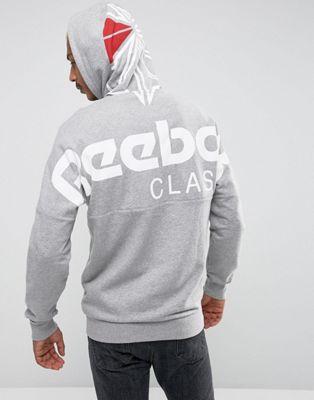reebok full zip hoodie in grey bq3363 グレイ gray灰色 パーカー フル フーディー ジップ リーボック イン メンズファッション