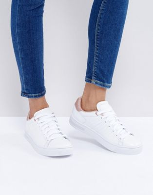 kswiss court frasco trainers in white and pearl pink イン トレーナー カウント ホワイト ピンク 白 パール 靴 レディース靴
