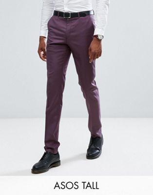 エイソス エイソストール asos tall ウール 紫 100% スーツ パンツ パープル イン スキニー トール skinny suit trousers in wool dusky purple メンズファッション