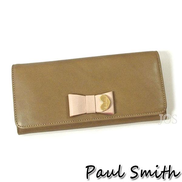 ポールスミス 財布 メンズ レディース Paul Smith コントラストリボン かぶせ長財布 ブラウン PWW784 送料無料 代引き料有料 消費税込