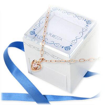 送料無料 LA PUREZZA ピンクゴールド ネックレス ダイヤモンド ハート 20代 30代 彼女 レディース 女性 誕生日プレゼント 記念日 ギフトラッピング あす楽 ラ・プレッツァ