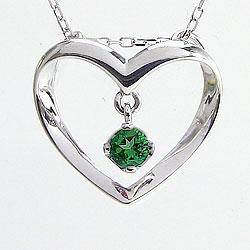 ハートネックレス エメラルドネックレス 5月誕生石 K10 ホワイトゴールドK10 誕生日プレゼント 結婚記念日 Emerald ギフト