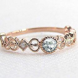 ピンクゴールドK18リング 天然ダイヤモンド ピンキーリング カラーストーン ジュエリー アクセサリー