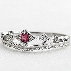 プラチナ900ティアラリング誕生石 ルビー7月誕生石 ピンキーリング カラーストーン 天然ダイヤモンド