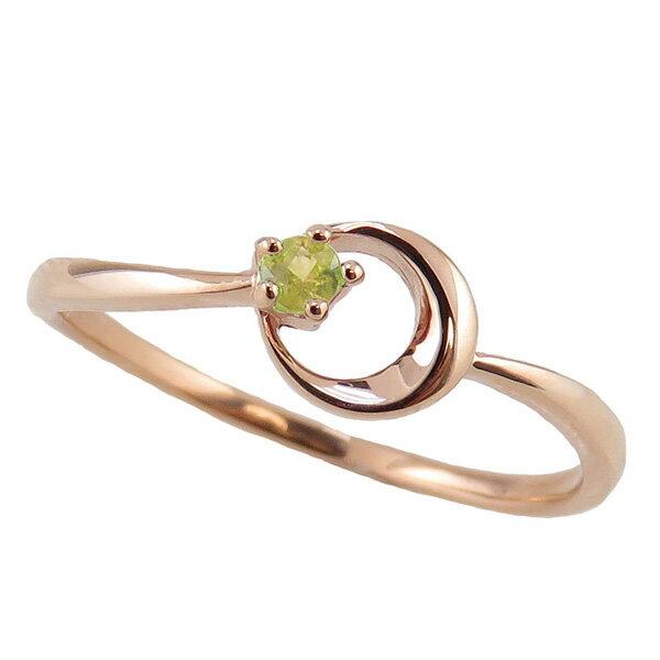 ペリドットリング 8月誕生石 10金 月モチーフ moon 指輪 K10 ピンキーリング カラーストーン ギフト