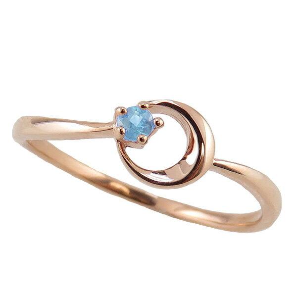 ブルートパーズ リング 11月誕生石 10金 月モチーフ moon 指輪 K10 ピンキーリング カラーストーン ギフト