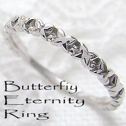 バタフライリング エタニティリング 蝶 10金 指輪 ホワイトゴールドK10 ピンキーリング ファランジリング ミディリング 究極指輪 ギフト