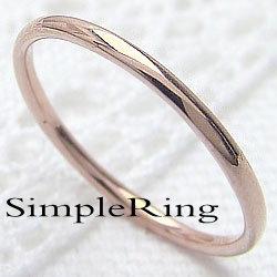 シンプルリング ストレートリング 18金 丸線地金指輪 ピンクゴールドK18 ピンキーリング ファランジリング ミディリング レディース 究極 ギフト