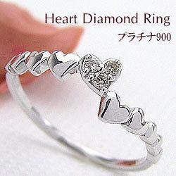 ハートリング ダイヤモンドリング プラチナ 指輪 Pt900 ピンキーリング ファランジリング ミディリング プラチナ900 レディースリング 結婚記念日 誕生日 クリスマス ギフト