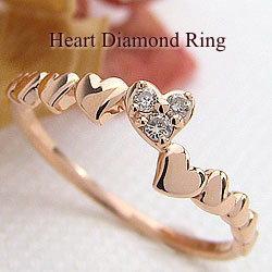 ハートリング ダイヤモンドリング 10金 指輪 ゴールドK10 ピンキーリング ファランジリング ミディリング K10PG レディースリング 結婚記念日 誕生日 クリスマス ギフト