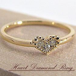 ピンキーリング ハート ダイヤモンドリング イエローゴールドK10 プロポーズ 天然ダイヤモンド 結婚記念日 サプライズ 指輪 贈り物 クリスマス 工房 直販 ギフト