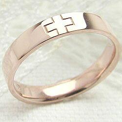 クロスリング ピンクゴールドK10 十字架 K10PG 指輪 文字入れ 可能 レディース ring ギフト