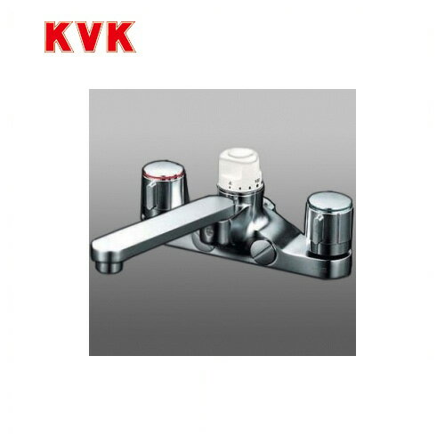 [KM296Z]KVK 浴室水栓 デッキ形定量止水付2ハンドル混合栓 デッキタイプ(台付き)   寒冷地用 【送料無料】 おしゃれ