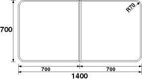 パナソニック panasonic 風呂フタ(長辺1400×短辺700:組みフタ:長方形:2枚:切り欠きなし) GA150C