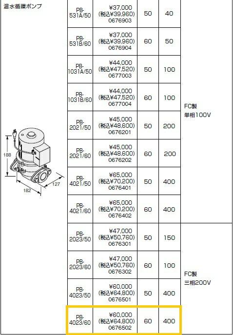ノーリツ(NORITZ) 温水循環ポンプ PB-4023/60 FC製 三相200V 商品コード0676502
