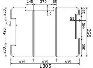 パナソニック panasonic 風呂フタ(長辺1305ミリ×短辺950ミリ:組みフタ:長方形:3枚:切り欠きあり)  RL91202C