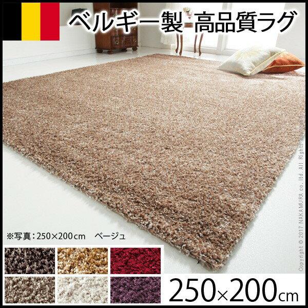 【送料無料】 【ラグ】 ベルギー製 ウィルトン織り シャギーラグ リエージュ 200x250cm