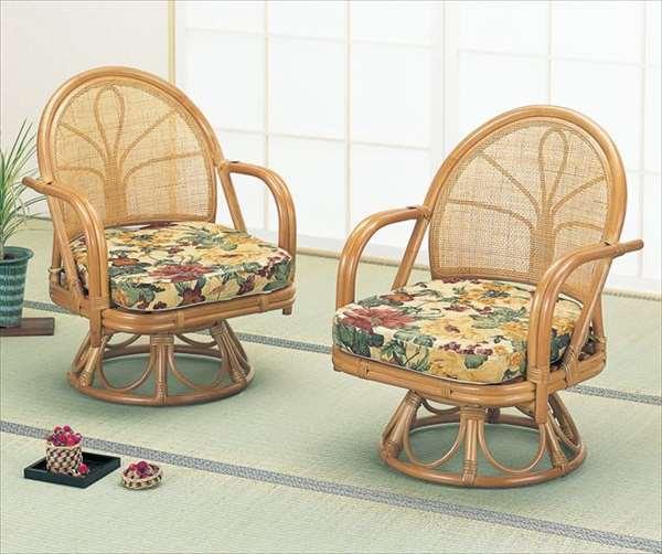 【送料無料】 回転座椅子 ハイタイプ2脚組 S-34ライトブラウン 籐 籐家具 座椅子 椅子 イス 回転式 和風リビングルーム籐ラタン製 輸入品 完成品 【smtb-MS】