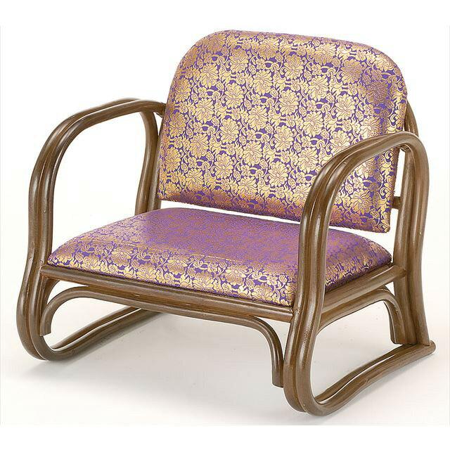 【送料無料】 籐金襴思いやり座椅子 ロータイプ S-130Bブラウン 籐 籐家具 座椅子 椅子 イス 和風リビングルーム籐ラタン製 輸入品 完成品 【smtb-MS】