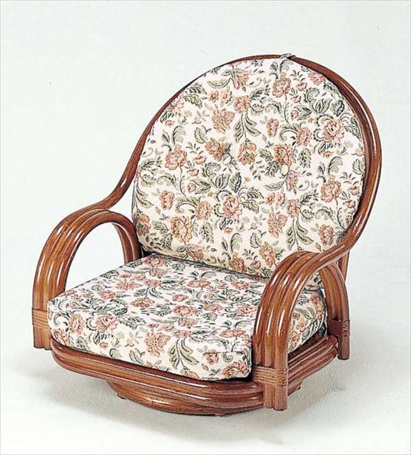 【送料無料】 回転座椅子ロータイプ S-551Bブラウン 籐 籐家具 座椅子 椅子 イス 回転式 和風リビングルーム籐ラタン製 輸入品 完成品 【smtb-MS】