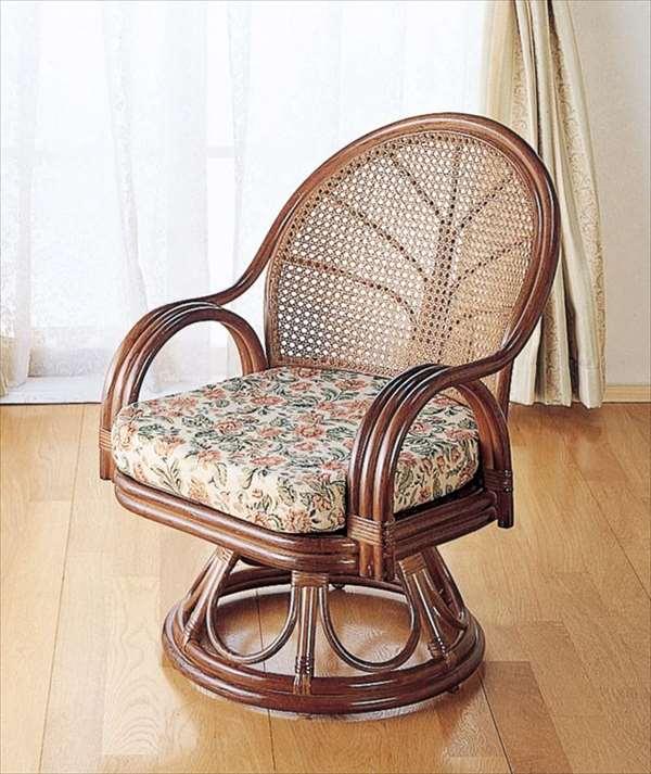 【送料無料】 回転座椅子ミドルハイタイプ S-553Bブラウン 籐 籐家具 座椅子 椅子 イス 回転式 和風リビングルーム籐ラタン製 輸入品 完成品 【smtb-MS】
