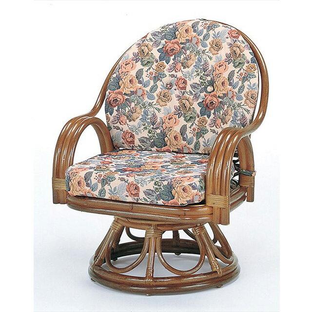 【送料無料】 回転座椅子ミドルハイタイプ S-583Bブラウン 籐 籐家具 座椅子 椅子 イス 回転式 和風リビングルーム籐ラタン製 輸入品 完成品 【smtb-MS】